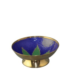 Gold Metal Bowl with Green Leaf (10cm)