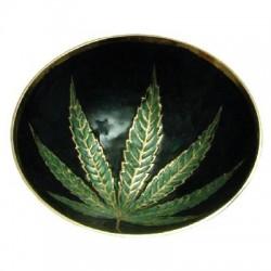 Ciotolo Metallo con Foglia Verde