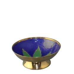 Gold Metallschale mit grünem Blatt (10cm)
