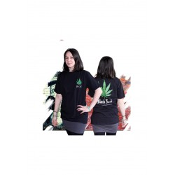 T-Shirt (L) Black Leaf